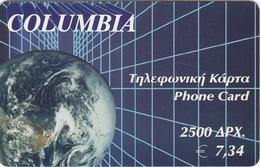 GREECE - Globe, Columbia Prepaid Card 2500 GRD/7.34 Euro, Exp.date 31/12/03, Sample - Greece
