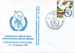 """(DDR-B2) Sonderumschlag """"Internationales Jahr Des Friedens"""" EF Mi 3036 SSt.13.9.86 WEIMAR - Briefe U. Dokumente"""