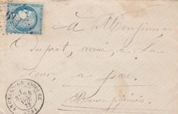 Yvert 60A  Cérès Lettre Cachet à Date ARGELES De Bigorre Hautes Pyrénées 24/11/1877  Pour Pau - 1849-1876: Classic Period