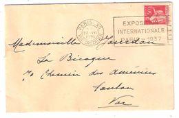 Lettre Type PAIX 50 C N° 283 Obl Flamme Paris XII Rue Crozatier: EXPOSITION INTERNATIONALE PARIS 1937, 1936 ,TB - Otros