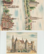 Illustrateur Dumarais 3 Cartes Bruges Et Anvers éditions Barré Et Doyez - Autres Illustrateurs
