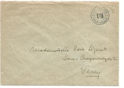 SUISSE OBLITERATION COLONNE SANITAIRE V/15 POSTE DE CAMPAGNE  SUR LETTRE - Postmark Collection