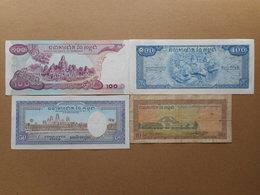 Cambodia 10,50,100 Riels 1956-1972 (Lot Of 4 Banknotes) - Cambodia