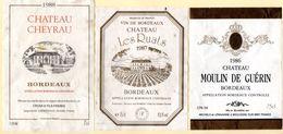 Lot De 3 étiquettes Bordeaux, Châteaux Cheyrau 1988, Les Ruats 1987, Moulin De Guérin 1986. - Collections & Sets