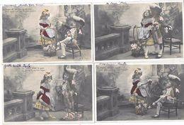 10153 - Lot De 5 CPA Couple Enfants, Série, Le Chevalier, Précurseur - Enfants