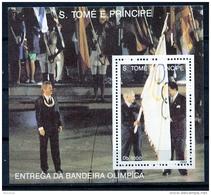 Sao Tome E Principe, 1992, Olympic Summer Games Barcelona, Flag Ceremony, MNH, Michel Block 291 - Sao Tome En Principe