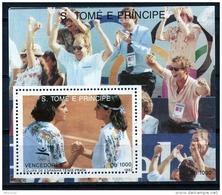 Sao Tome E Principe, 1992, Olympic Summer Games Barcelona, Tennis, MNH, Michel Block 288 - Sao Tome Et Principe