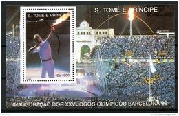 Sao Tome E Principe, 1992, Olympic Summer Games Barcelona, Archery, MNH, Michel Block 290 - Sao Tome Et Principe