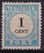 1881-1887 Portzegels Lichtblauw / Zwart Cijfer : 1 Cent Kamtanding 13½ : 13¼ NVPH  P 3 A III (*) - Tasse