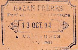 Carte Commerciale / Entier 1891 / GAZAN Frères / Parfumeur Distillateur / 06 Vallauris / Alpes Maritimes - Cartes