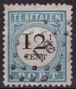 1881-1887 Portzegels Lichtblauw / Zwart Cijfer : 12½ Cent Kamtanding 12½ : 12 Type I NVPH  P 8 B I - Portomarken