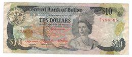 BELIZE 10 DOLLARS Pick#44 1983, Used . - Belize
