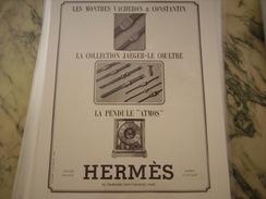 ANCIENNE PUBLICITE MONTRE HERMES COLLECTION JAEGER VACHERON 1939 - Bijoux & Horlogerie