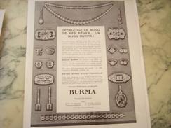 ANCIENNE PUBLICITE BIJOUX BURMA SON REVE 1931 - Bijoux & Horlogerie