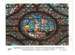 IMAGE CATHEDRALE DE CHARTRES VITRAIL DE CHARLEMAGNE 12e SIECLE ROLAND FEND LE ROCHER ET SONNE DU COR . PHOTO GOLDNER - Vieux Papiers