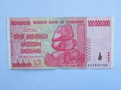 Billet ZIMBABWE De ONE HUNDRED MILLION (100 000 000) Dollars - Zimbabwe