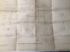 PLAN - Schéma Technique De La Plaque Tournante En Fonte Et Bois De  4m50 - Chemin De Fer De L'Est Année 1890-1899 - Publieke Werken