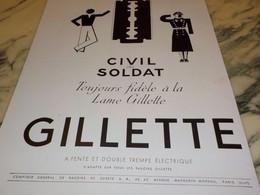 ANCIENNE PUBLICITE CIVIL OU SOLDAT LAME  GILLETTE  1940 - Parfums & Beauté