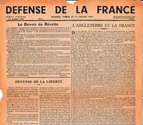 """WW2 25 Oct.1943 - JOURNAL CLANDESTIN - """"DÉFENSE DE LA FRANCE"""" - Documents Historiques"""