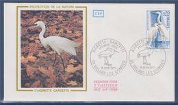 = Protection De La Nature Enveloppe 1er Jour 01 Villars Les Dombes 15.2.75 N° 1820 Aigrette Garzette - FDC