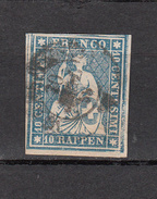1855  N° 23C  OBLITERE   CATALOGUE ZUMSTEIN  VENDU A 15% DU PRIX CATALOGUE - 1854-1862 Helvetia (Ungezähnt)