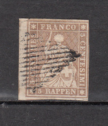 1855  N° 22C  OBLITERE   CATALOGUE ZUMSTEIN  VENDU A 15% DU PRIX CATALOGUE - 1854-1862 Helvetia (Ungezähnt)
