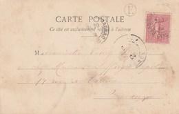Yvert 129 Semeuse Lignée Cachet BASSOUES D'ARMAGNAC Gers 1904 Boite Rurale E Sur Carte Postale Fantaisie Femme Fleur Iri - France