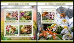 NIGER 2017 - Bees And Orchids, M/S + S/S. Official Issue - Niger (1960-...)