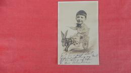 RPPC  Boy In Donkey Cart-- Studio  View-- Card  Has Ripple   Ref 2623 - Enfants