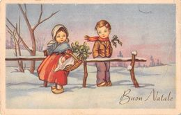 """D6150 """"BUON NATALE - BAMBINI - CESTO VIMINI- VISCHIO""""  CART  SPED 1949 - Altri"""
