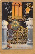 """D6155 """"BUON NATALE - BAMBINA CON ALBERELLO DI NATALE - CANDELINE ACCESE - LAMPIONE - NEVE""""  CART  SPED. 1935 - Natale"""