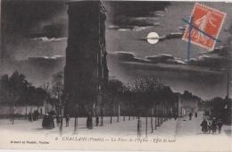 Bg - Cpa CHALLANS - La Place De L'Eglise - Effet De Nuit - Challans