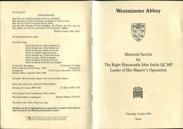 WESTMINSTER ABBEY MEMORIAL JOHN SMITH LABOUR PRINCE EDWARD 1994 - Religion & Esotericism