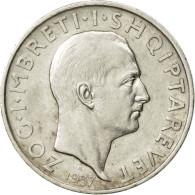 Albania, Zog I, Frang Ar, 1937, Rome, TTB+, Argent, KM:16 - Albania