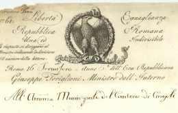 REPUBLIQUE ROMAINE – TORIGLIONI, Giuseppe. Ministre De L'Intérieur. – Roma 1798 VIGNETTE - Postmark Collection (Covers)