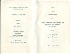 WESTMINSTER 1985 PARLIAMENTARY PRESS TONY BENN LUNCH MENU - Old Paper