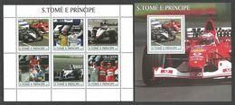 ST THOMAS AND PRINCE 2003 GRAND PRIX SPORT CARS SMOKING SET OF 2 M/SHEETS MNH - Sao Tome And Principe