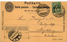 Postkarte Von Lausanne Nach Magdeburg Vom 02.04.1907 - Ganzsachen