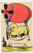 Tres Belle Carte Couleur Vive Dirigeable Avec Poussin Joyeuses Paques Easter BKWI  4091 - Dirigibili