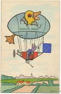 Tres Belle Carte Couleur Vive Dirigeable Avec Poussin Signée H.A.W.  MM Vienne Munk 487 Paques - Dirigibili