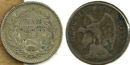 CHILE 20 CENTAVOS WREATH FRONT & BIRD EMBLEM BACK 1907 AG SILVER F KM? READ DESCRIPTION CAREFULLY !!! - Chile