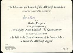 QUEEN MOTHER ST JAMES PALACE ALDEBURGH 1984 MUSIC - Old Paper