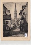 CPA GF  - 68 - Mulhouse   -  Rue De La Justice Et Le Temple - Eau Forte  Originale - Mulhouse