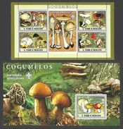 ST THOMAS AND PRINCE 2007 SCOUTS FUNGI MUSHROOMS FLOWERS SET OF 2 M/SHEETS MNH - Sao Tome And Principe