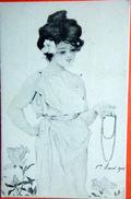 ART NOUVEAU  RAPHAEL KIRCHNER  FEMME AU COLLIER DE PERLES  CARTE ORIGINALE LITHOGRAPHIEE - Kirchner, Raphael