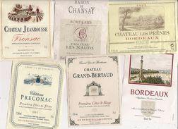 Etiquette - Lot De 6 - BORDEAUX Chateau Preconac, Grand-Bertaud, Baron De Chansay, Les Prênes, - Collections, Lots & Séries