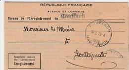 France Alsace Lettre De Service Rouffach 1939 - Postmark Collection (Covers)