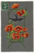 Belle Carte En Velours Gaufrée Coquelicot Pavot Poppies Opium - Cartes Postales