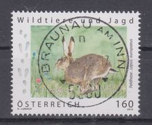 """Österreich 2015:  """"Wildtiere Und Jagd - Feldhase""""   Gestempelt (siehe Foto/Scan) - 2011-... Gebraucht"""