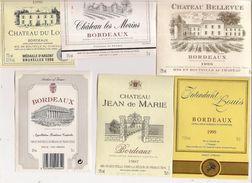 Etiquette - Lot De 6 - BORDEAUX Chateau Jean De Marie, Intendant Louis, Du Lort, Bellevue, Les Morins - Collections, Lots & Séries